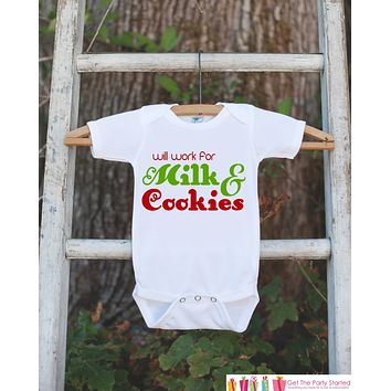 Novelty Christmas Outfit - Will Work for Milk & Cookies Onepiece - Humorous Christmas Shirt for Baby Boy or Baby Girl - Christmas Outfit