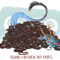HOARD OF BROKEN VHS TAPES PRINT
