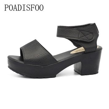 POADISFOO sandals women Summer shoes Woman wedges platform sandals square high heel  white black women shoes thick heel .XL-21