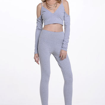 (alq) Cold shoulder gray leggins set