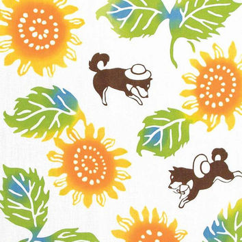Japanese Tenugui Cotton Fabric, Hand Dyed Fabric, Summer Sun Flower, Shiba Inu Dog, Green Leaf Art Design, Wall Hanging, Home Decor, k017