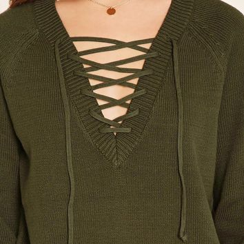 Lace-Up Knit Sweater