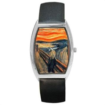 Edward Munch The Scream Black Leather Barrel Watch