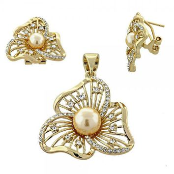 Gold Layered Earring and Pendant Adult Set, Flower and Ball Design, with Opal and Crystal, Gold Tone