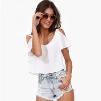 White Cutout Lotus Sleeves Zipped Back  Flounced Top