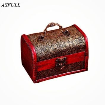 ASFULL Chic Case Holder Wooden Pirate Jewelry Storage Box Vintage Treasure Chest organizer free shipping