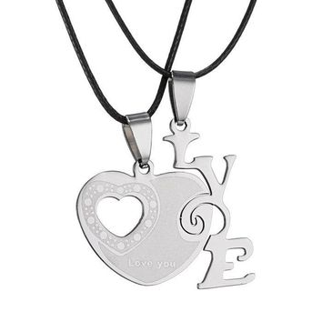 couples pendant necklace personalized Love Heart stainless steel necklace fro women men  jewelry