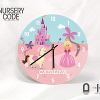 """Princess, Pony and Castle Wall Clock for Girls Room Decor - Personalized with name -11"""" and 16""""  Diameter - 1/4 """" thick"""