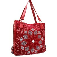 Floral Studded Rhinestone Sequin Tote Bag Purse Burgundy