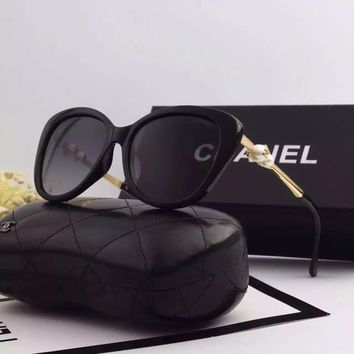 Original Chanel Polarized Lenses Square Fall Sunglasses With Pearl 8062 - 51
