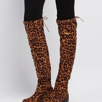 Bamboo Leopard Drawstring Over-The-Knee Boots
