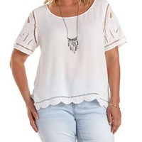 Plus Size White Embroidered Chiffon Tee by Charlotte Russe