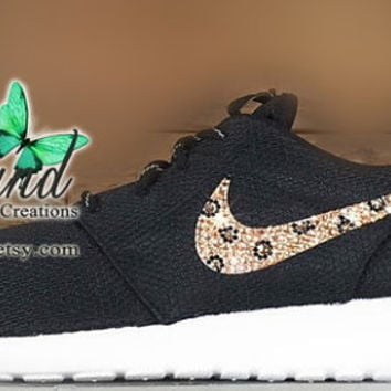 Blinged Black Women's Nike Roshe Run w/ cheetah print crystals