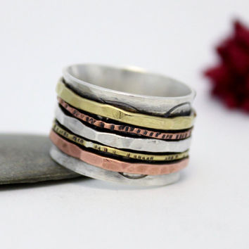 Hammered Sterling Silver, Brass & Copper Spinner Ring. Statement Ring, Meditation Ring, Silver Spinner Ring, Size US 7.5