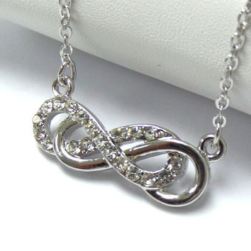 Crystal Silver Double Infinity Necklace