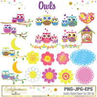 Owls Clipart, flowers, baby owl, heart, vector graphic, Owls on Branches, Pink Owl Graphics, Party O, Commercial-Personal Use