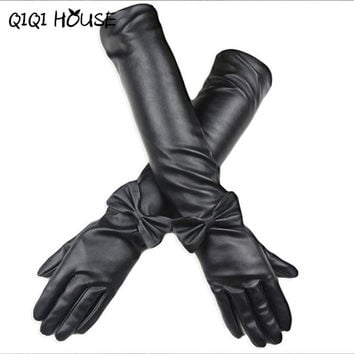 Leather Gloves Women Long Gloves Bow PU Leather Winter Warm Gloves Luva De Academia#B817