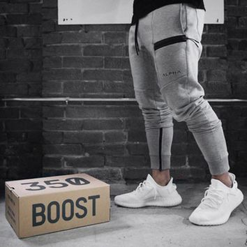 Autumn Winter Men Gyms Fitness Bodybuilding Sweatpants Casual Fashion Personality Slim Trousers Male Brand Pants