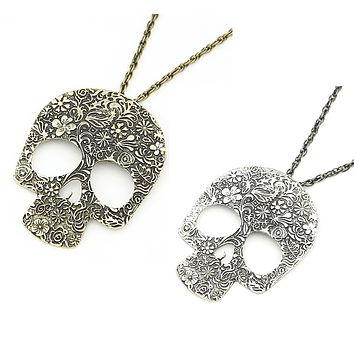 Blossoming Skull Floral Etched Necklace