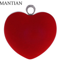 Velvet diamonds heart shaped red/black evening bags mini purse clutch with chain shoulder evening bag for party