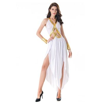 Goddess Athena Cosplay Costume Medieval Retro Sexy Dress Women Girls Fancy Dress for Halloween Carnival Party