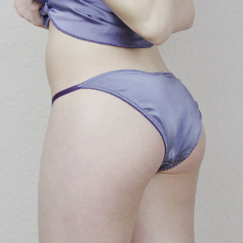 stretch silk panties with cotton embroidered lace trim - made to order