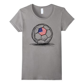 US USA America Flag on Soccer Ball Football Jersey T-Shirt