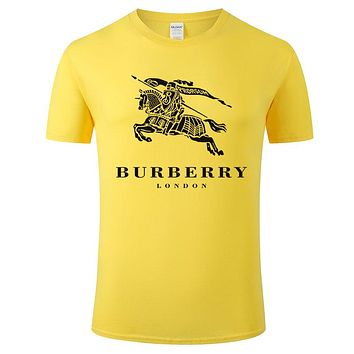 Burberry Summer New Fashion War Horse Letter Print Leisure Women Men Top T-Shirt Yellow