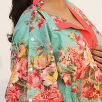 Long Floral Feeding gown /  DELIVERY gown / Maternity robe for hot moms to be, gift for her, snap buttons