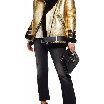 Metallic leather and shearling jacket | ACNE STUDIOS | Sale up to 70% off | THE OUTNET