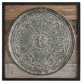 "39-1/2"" Sq Wood & Embossed Tin Wall Decor,"