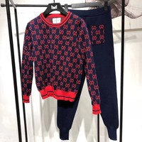 """Gucci"" Women Casual Fashion Knit Multicolor Letter Logo Long Sleeve Sweater Trousers Set Two-Piece Sportswear"
