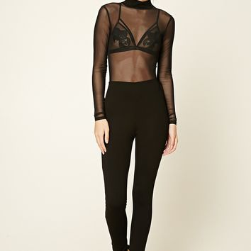 Semi-Sheer Mesh Jumpsuit