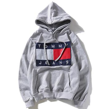TOMMY JEANS autumn and winter tide brand plus velvet men and women loose hooded sweater Grey