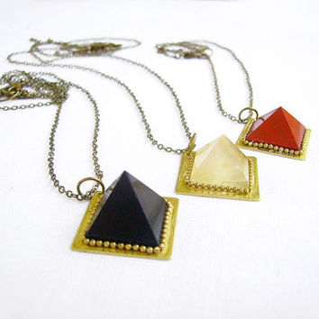 Pyramid Quartz Necklace, Minimal Geometric Birthstone Jewelry. Quartz Agate Jasper Necklace - Modern Tribal Lapidary Pendant