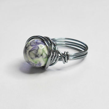 Rain Flower Ocean Jade Purple Violet Green Gun Metal Grey Handmade Wire Wrapped Ring Sizes 1-14