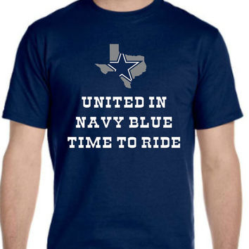 United in Navy BlueTime To Ride Cowboys Playoff  T-shirt Men Women Youth XS to 6XL sizes Texas State shape