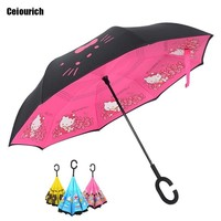 Ceriourich Lovely Cartoon Patterns Awning Sunshada Umbrella kids Umbrella Reverse With Push Button And C-hook Umbrellas-011
