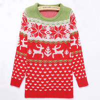 Red Reindeer Round Collar Christmas Sweater