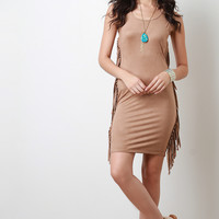 Side Fringed Suede Dress