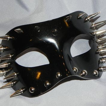 Black Mask with Stud and Spike Accents