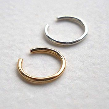 Non Pierced 14K Gold Filled Ear & 925 Sterling Silver Cuff or Fake Nose Ring,cartilage,helix,tragus,ear hoop 20Gauge