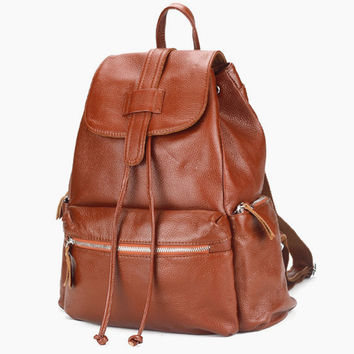 Medium Size Camel Brown Leather Backpack. Ladies Travel Bag. Tan Laptop Bag. Genuine Leather. MADE-TO-ORDER