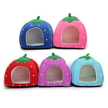 Hot Selling Pet Product House Bed Foldable Soft Winter Dog Cat Bed Colorful Strawberry Cave Dog House Kennel Nest Free Shipping