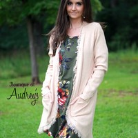 Natural Long Cardigan with Front Pockets and Frayed Detail