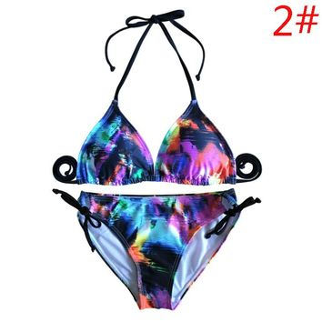 Summer New Fashion Multicolor Print Straps Two Piece Bikini Swimsuit Women