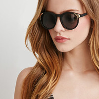 Metal-Accented Round Sunglasses