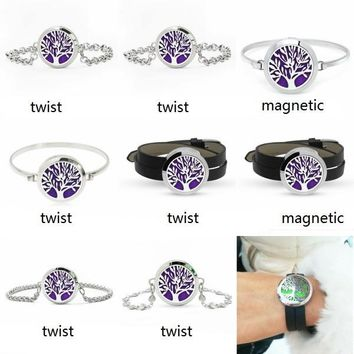 Tree of Life 30mm 316L Stainless Steel Aroma Locket Bangle Perfume Diffuser Locket Bracelets For Women 10pcs Pads Random