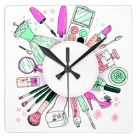 Glamour Girl Wreath Square Wall Clock