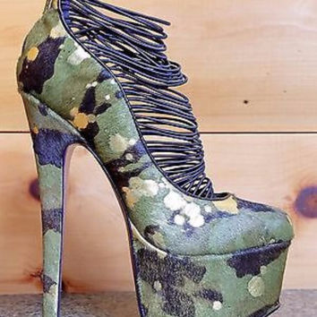 Ceres Camo Green Gold Pony Platform High Heel Shoe